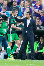 Robin van Persie of Feyenoord, coach Giovanni van Bronckhorst during the Dutch Toto KNVB Cup Final match between AZ Alkmaar and Feyenoord on April 22, 2018 at the Kuip stadium in Rotterdam, The Netherlands.