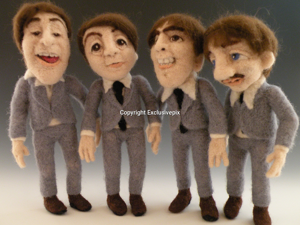 USA - 17/-8/2010 - Celebrity Sculptural needle felting by Kay Petal from Alaska has been creating amazing creations since 2007.all these creations are made by a single needle and wool.<br /> Photo Shows: The Beatles<br /> (&copy;Kay Petal/Exclusivepix)