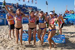 25-08-2019 NED: DELA NK Beach Volleyball, Scheveningen<br /> Last day NK Beachvolleyball / Katja Stam #1, Julia Wouters #2, Pleun Ypma #2, Marleen Ramond- van Iersel #1