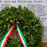 LONGARONE, ITALY - OCTOBER 09:  A wrath stands in front of the memorial for the Casso victims of the Vajont  on October 9, 2013 in Longarone, Italy. Today is the 50th anniversary of the Vajont disaster, which occurred on 9th October 1963, and is the worst landslide disaster in European history with 2000 people killed.  (Photo by Marco Secchi/Getty Images)
