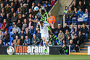 Forest Green Rovers Shamir Mullings(18) beats Tranmere Rovers Adam Buxton(22) to the ball during the Vanarama National League match between Tranmere Rovers and Forest Green Rovers at Prenton Park, Birkenhead, England on 11 April 2017. Photo by Shane Healey.