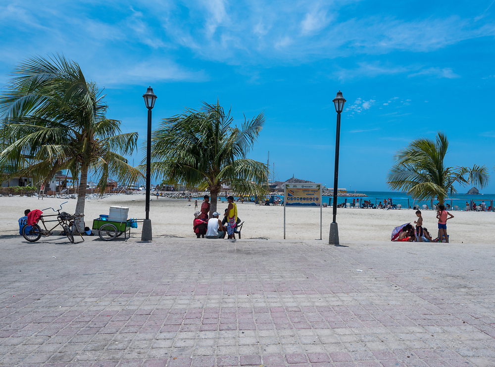 Santa Marta, Columbia -- April 22, 2018. Palm trees sway in the wind at the beach in Santa Marta, Columbia. Editorial use only.