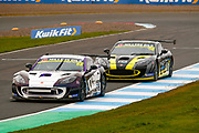 Jack Oliphant(GBR) Century Motorsport leads Nathan Heathcote(GBR) Century Motorsport out of the hairpin during the Millers Oil Ginetta GT4 Supercup Championship at Knockhill Racing Circuit, Dunfermline, Scotland on 15 September 2019.