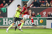 Bristol City striker, Jonathan Kodjia (22) on the ball during the Sky Bet Championship match between Bristol City and Brighton and Hove Albion at Ashton Gate, Bristol, England on 23 February 2016. Photo by Shane Healey.