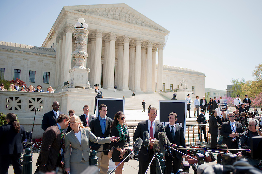 Republican Presidential Candidate RICK SANTORUM held a press conference in front of the U.S. Supreme Court in Washington, D.C. on Monday as the court began three days of oral arguments over the constitutionality of the health care law championed by President Barack Obama. The majority of justices appearing to reject suggestions they wait another few years before deciding the issues.