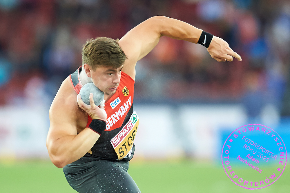 David Storl of Germany competes in men's shot put final during the First Day of the European Athletics Championships Zurich 2014 at Letzigrund Stadium in Zurich, Switzerland.<br /> <br /> Switzerland, Zurich, August 12, 2014<br /> <br /> Picture also available in RAW (NEF) or TIFF format on special request.<br /> <br /> For editorial use only. Any commercial or promotional use requires permission.<br /> <br /> Photo by &copy; Adam Nurkiewicz / Mediasport