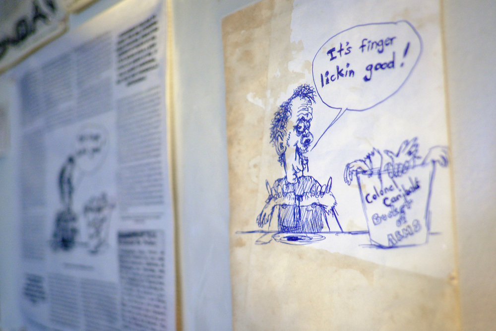 ELKTON, MARYLAND - SEPTEMBER 2: Some of Zane Campbells artwork adorns the walls of his kitchen in his home in Elkton, Md. on Saturday, September 2, 2017 in Childs, Maryland.  Most Campbells are store owners and artists and musicians, including his Aunt Ola Belle, a star of old-time/bluegrass music in the 60s and 70s, who also ran a country-music park. (Photo by Pete Marovich For The Washington Post)