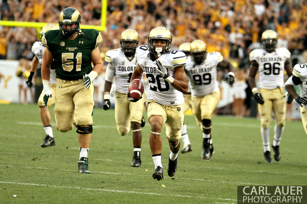 September 1st, 2013 - Colorado State Rams freshman tight end Trae Moxley (20) breaks down the field for a touchdown in the second half of the NCAA football game between the Colorado Buffaloes and the Colorado State Rams at Sports Authority Field in Denver, CO