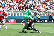 Manchester United Goalkeeper Sergio Romero collides with Real Madrid Midfielder Gareth Bale and Manchester United Defender Phil Jones during the AON Tour 2017 match between Real Madrid and Manchester United at the Levi's Stadium, Santa Clara, USA on 23 July 2017.