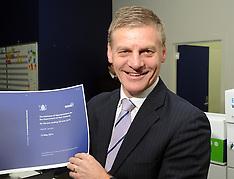 Petone-Finance Minister Bill English at 2014 budget printer