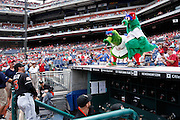 PHILADELPHIA, PA - JUNE 3: Philadelphia Phillies mascot Phillie Phanatic and a young fan dressed as the mascot clown around with Miami Marlins manager Ozzie Guillen prior to the game at Citizens Bank Park on June 3, 2012 in Philadelphia, Pennsylvania. The Marlins won 5-1. (Photo by Joe Robbins)