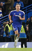 Chelsea defender John Terry looking relieved after his late equaliser during the Barclays Premier League match between Chelsea and Everton at Stamford Bridge, London, England on 16 January 2016. Photo by Andy Walter.