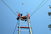 Chinese Man Climbs Ladder made from Blades
