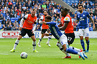 Football - 2019 / 2020 Sky Bet (EFL) Championship - Cardiff City vs. Luton Town<br /> <br /> Josh Murphy of Cardiff City brought down by Pelly Ruddock of Luton Town in the box, at Cardiff City Stadium.<br /> <br /> COLORSPORT/WINSTON BYNORTH