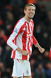 Stoke's Peter Crouch celebrates on the final whistle  - Photo mandatory by-line: Dougie Allward/JMP - Mobile: 07966 386802 - 06/12/2014 - SPORT - Football - Stoke - Britannia Stadium - Stoke City v Arsenal - Barclays Premie League