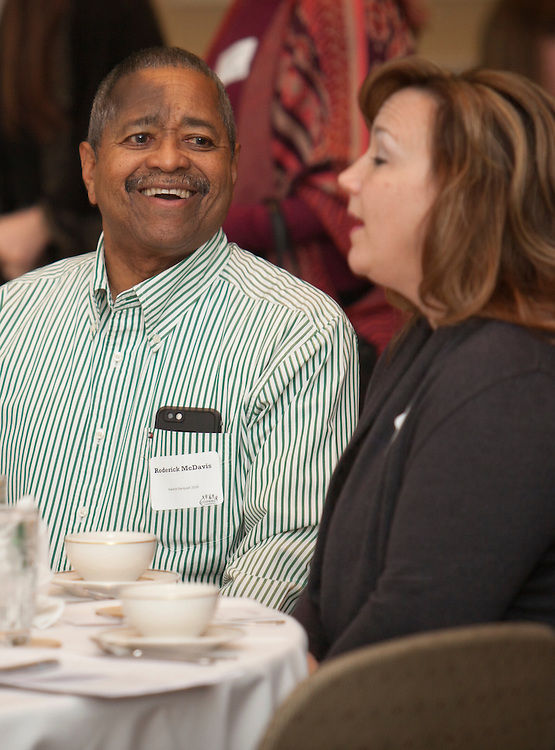 President Roderick McDavis shares a laugh during the Learning Community Programs Awards Banquet in Baker Ballroom on Sunday, Jan. 24, 2016. ©Ohio University/ Photo by Kaitlin Owens