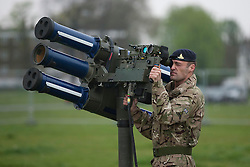 © Licensed to London News Pictures. 03/05/2012. LONDON, UK. A gunner of 16 Regiment Royal Artillery man a Starstreak High Velocity Missile System (HVM) at Blackheath in London today (03/05/12). The missiles have been deployed as part of an exercise involving the RAF, British Army and Royal Navy taking place across London as part of security preparations for the 2012 London Olympic Games. Photo credit: Matt Cetti-Roberts/LNP