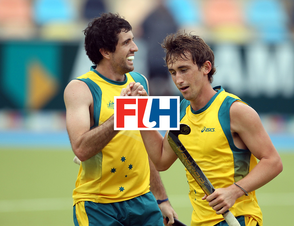 Mens Champions Trophy, Monchengladbach, Germany, 2010<br /> Day 6, 8/8/10, Mens Final, Australia v England<br /> Jason Wilson scores for Australia and is congratulated by Russell Ford<br /> Credit: Grant Treeby<br /> <br /> Editorial use only (No Archiving) Unless previously arranged