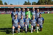 Brighton & Hove Albion FC team prior to the FA Women's Super League match between Brighton and Hove Albion Women and Chelsea at The People's Pension Stadium, Crawley, England on 15 September 2019.