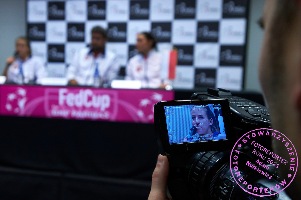 Alicja Rosolska from Poland while press conference during Second Day of the Fed Cup / World Group 1st round tennis match between Poland and Russia at Tauron Krakow Arena on February 8, 2015 in Cracow, Poland.<br /> <br /> Poland, Cracow, February 8, 2015<br /> <br /> Picture also available in RAW (NEF) or TIFF format on special request.<br /> <br /> For editorial use only. Any commercial or promotional use requires permission.<br /> <br /> Adam Nurkiewicz declares that he has no rights to the image of people at the photographs of his authorship.<br /> <br /> Mandatory credit:<br /> Photo by &copy; Adam Nurkiewicz / Mediasport