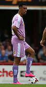 Nick Blackman (Reading striker) with the brightest boots of the day during the Sky Bet Championship match between Brentford and Reading at Griffin Park, London, England on 29 August 2015. Photo by Matthew Redman.