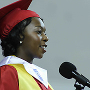 William Penn Senior Class President Tasia Dennis gives remarks to students and family made up of 464 students during William Penn 93rd commencement exercises Monday, June 08, 2015, at The Bob Carpenter Sports Convocation Center in Newark, Delaware.
