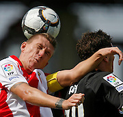 "September, 13 2009. Football/Spain. Girona F.C. and rayo Vallecano of Madrid disputes  the match corresponding to the third day of the spanish ""La Liga Adelante"" second division (season 2009/2010) in the  city of Girona. Final result was 1-1..COPYRIGHT: TONI VILCHES FOTOGRAFIA 2009...Partido correspondiente a la tercera jornada de liga adelante de segunda división entre el Girona F.C. como equipo local y el Rayo Vallecano de Madrid."