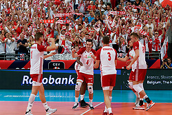 23-09-2019 NED: EC Volleyball 2019 Poland - Germany, Apeldoorn<br /> 1/4 final EC Volleyball - Poland win 3-0 / Marcin Komenda #4 of Poland, Michał Kubiak #13 of Poland