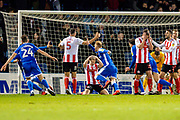 Gillingham FC defender Connor Ogilvie (6) (centre) scores a goal (1-0) and celebrates during the EFL Sky Bet League 1 match between Gillingham and Sunderland at the MEMS Priestfield Stadium, Gillingham, England on 7 December 2019.