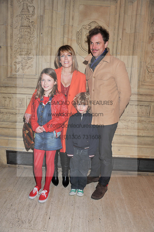 FAY RIPLEY and DANIEL LAPAINE with their children PARKER (in red) & SONNY at Cirque du Soleil's VIP night of Kooza held at the Royal Albert Hall, London on 8th January 2013.