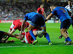 Aaron Carpenter of Canada scores a try  - Mandatory byline: Joe Meredith/JMP - 07966386802 - 01/10/2015 - Rugby Union, World Cup - Stadium:MK -Milton Keynes,England - France v Canada - Rugby World Cup 2015