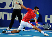 04/01/2011 SPORT: Hopman Cup - Day 4, Session 6. Serbia vs Australia. Men's singles match between Novak Djokovic (Serbia) and Lleyton Hewitt (Australia). PICTURED - Novak Djokovic (Serbia)