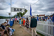 Henley Royal Regatta, 3-7 July 2019. General View, GV, Spectators, on the tow path, at the Barn Bar, Royal Henley Peace Regatta Centenary, 1919-2019. Henley on Thames.<br /> <br /> <br /> <br /> [Mandatory Credit: Patrick WHITE/Intersport Images], 6, 06/07/2019,  11:20:04
