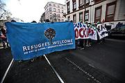 Frankfurt am Main | 18 Mar 2015<br /> <br /> Blockupy-Proteste in Frankfurt am 18.03.2015, hier: Demonstranten mit einem Transparent mit der Aufschrift &quot;Refugees Welcome&quot;.<br /> <br /> photo &copy; peter-juelich.com