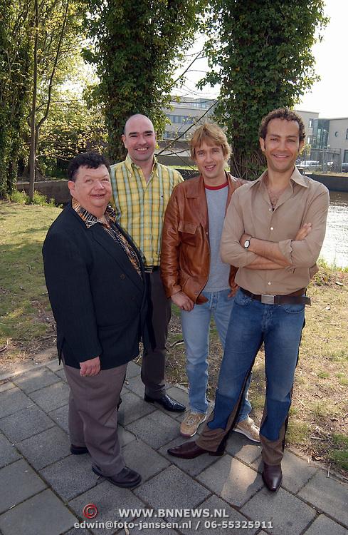 Presentatie genomineerden Musical Awards 2003, Jimmy Hutchinson, Cees Geel, Addo Kruizinga en Robert de Groot