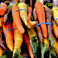 Multi-color Carrots at Farmers Market in Vancouver, Canada