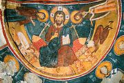 TURKEY, CAPPADOCIA Karanlik Kilise; Christ, Mary, John