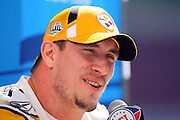 TAMPA, FL - JANUARY 27: Defensive end Aaron Smith #91 of the AFC Pittsburgh Steelers speaks to the media during Super Bowl XLIII Media Day at Raymond James Stadium on January 27, 2009 in Tampa, Florida. ©Paul Anthony Spinelli *** Local Caption *** Aaron Smith