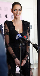 AU_1337096 - Perth, AUSTRALIA  -  Nicole Trunfio and Nat Fyfe hold a press conference before a dress rehearsal before the closing of the Perth Fashion Festival at Optus Stadium in Perth, Western Australia<br />