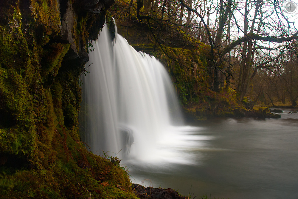 Waterfall in waterfall country in the Brecon Beacons, taken from the side with a slow shutter speed