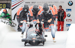 17.12.2017, Olympia Eisbahn, Igls, AUT, BMW IBSF Weltcup und EM, Igls, Viererbob, 1. Lauf, im Bild Chris Spring, Cameron Stones, Joshua Kirkpatrick, Neville Wright (CAN) // Pilot Chris Spring with Cameron Stones Joshua Kirkpatrick Neville Wright of Canada during 1st run of four-man Bobsleigh competition of BMW IBSF World Cup and European Championship at the Olympia Eisbahn in Igls, Austria on 2017/12/17. EXPA Pictures © 2017, PhotoCredit: EXPA/ Johann Groder