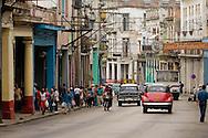 Cuba. La Habana  . old american vintage cars ,  full of colors. , in Monte street. La Habana city center /  vielles voitures americaines de toutes les couleurs circulant  dans la rue monte; La Havane centre,  Habana centro  La Havane - Cuba