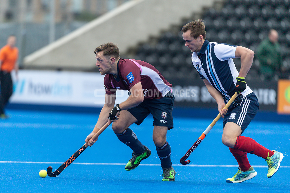 Wimbledon's Jonty Griffiths. Wimbledon v Hampstead & Westminster - Men's Hockey League Finals, Lee Valley Hockey & Tennis Centre, London, UK on 28 April 2018. Photo: Simon Parker