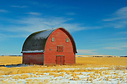 Red barn in winter<br />