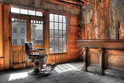 Wall Art Photography of the American West For Sale- An old barber's chair sits in a saloon in Bannack, Montana- Colin E Braley