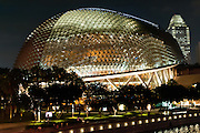 The Esplanade concert hall at night in Singapore