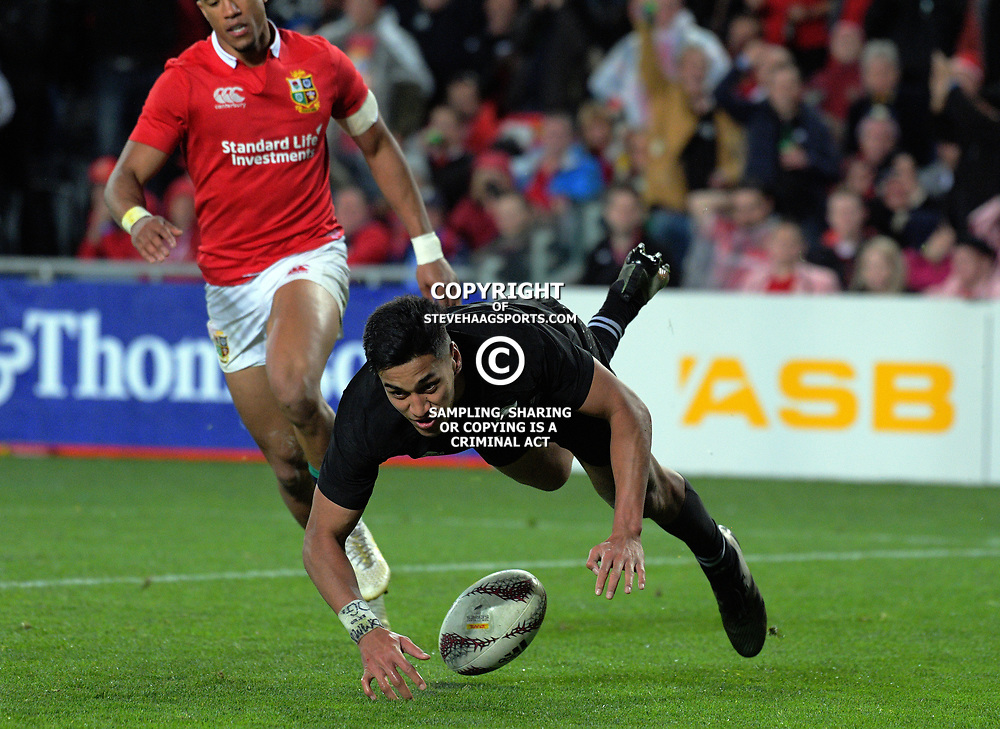 Rieko Ioane scores his second during the 2017 DHL Lions Series rugby union match between the NZ All Blacks and British & Irish Lions at Eden Park in Auckland, New Zealand on Saturday, 24 June 2017. Photo: Dave Lintott / lintottphoto.co.nz