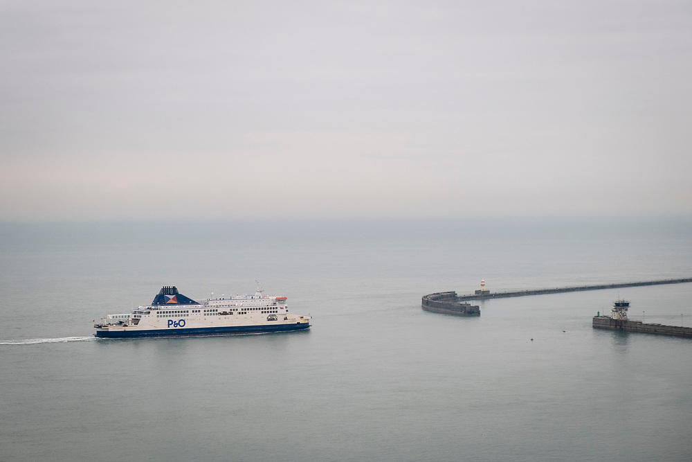 A P&O ferry arrives into the Eastern Dock of the Port of Dover, where the cross channel port is situated with ferries departing here to go to Calais in France. Dover, Kent, United Kingdom.  Dover is the nearest port to France with just 34 kilometres (21 miles) between them. It is one of the busiest ports in the world. As well as freight container ships it is also the main port for P&O and DFDS Seaways ferries.  (photo by Andrew Aitchison / In pictures via Getty Images)