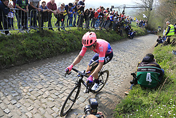 Sep Vanmarcke (BEL) EF Education First climbs the Koppenberg during the 2019 Ronde Van Vlaanderen 270km from Antwerp to Oudenaarde, Belgium. 7th April 2019.<br /> Picture: Eoin Clarke | Cyclefile<br /> <br /> All photos usage must carry mandatory copyright credit (© Cyclefile | Eoin Clarke)
