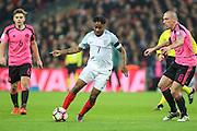 England Forward Raheem Sterling during the FIFA World Cup Qualifier group stage match between England and Scotland at Wembley Stadium, London, England on 11 November 2016. Photo by Phil Duncan.